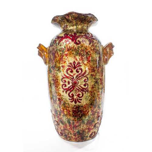 "11"" X 8"" X 16"" Brown Orange Red Green Ceramic Foiled & Lacquered Amphora Vase"