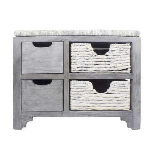 """24.75"""" X 17"""" X 20"""" Grey MDF Wood Water Hyacinth Water Hyacinth Drawer Basket Storage Bench"""
