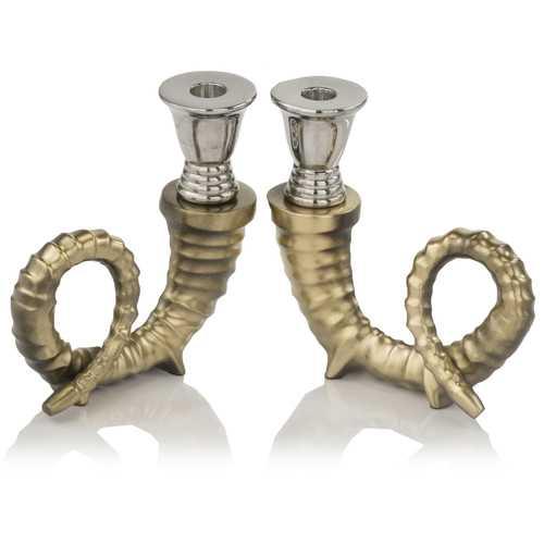 "3"" x 6.5"" x 7.5"" Shiny Nickel/Gold - Candleholders Pair"