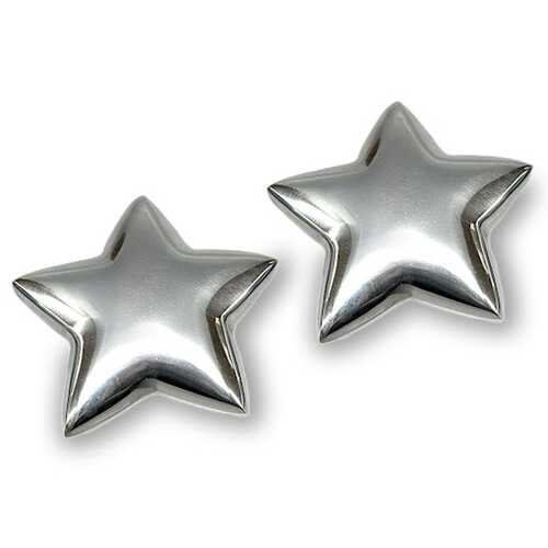 "4.5"" x 4.5"" x 1"" Buffed Large Paperweight - Star Set of 2"