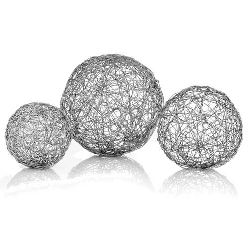 "3"" x 3"" x 3"" Shiny Nickel/Silver Wire - Spheres Box of 3"
