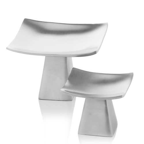 """6"""" x 6"""" x 4"""" Matte Silver/Pedestal - Candle Holders Set of 2"""