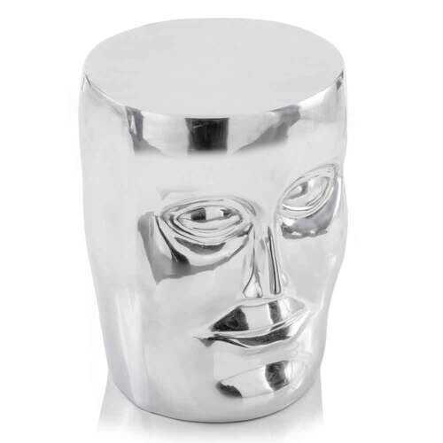 """13"""" x 13"""" x 18"""" Silver/Aluminum - Face Stool"""