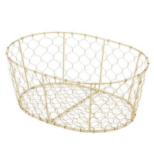 "10"" x 14"" x 5.5"" Antique Brass/Oval Wire - Basket"