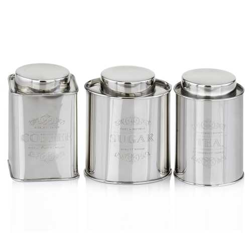 "4"" x 4"" x 6"" Silver Coffee Tea & Sugar - Canisters Set of 3"