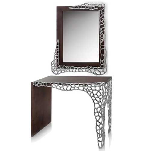 """17.5"""" x 43"""" x 30"""" Brown & Silver Honeycomb - Console Table"""