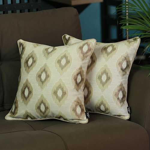 """17""""x 17"""" Jacquard Brown Slices Decorative Throw Pillow Cover Set Of 2 Pcs Square"""