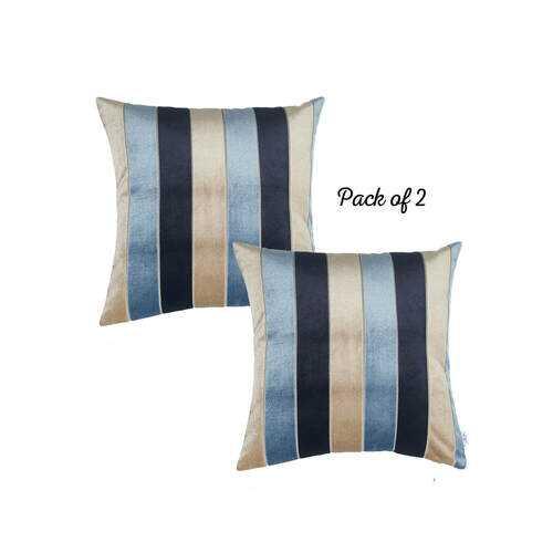 """17""""x17""""Blue Velvet Luxurious Throw Decorative Pillow Case Set of 2 pcs Square"""