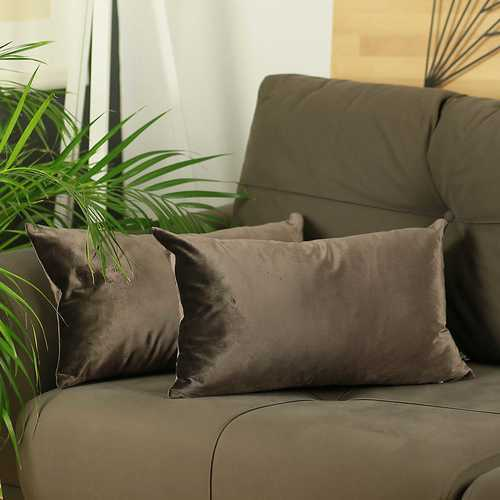 "21""x 14"" Brown Velvet Carob Decorative Throw Pillow Cover 2 Pcs in set"