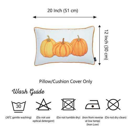 "12""x20"" Thanksgiving Lumbar Pumpkins Decorative Throw Pillow Cover"
