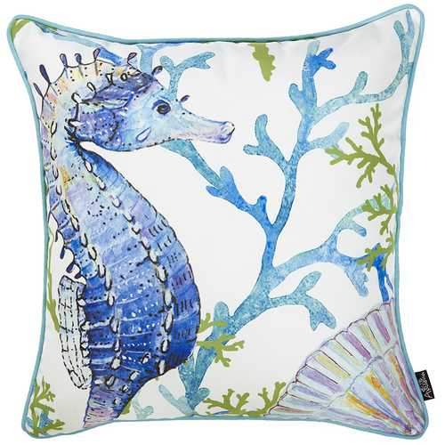 Square White Blue And Green Seahorse Decorative Throw Pillow Cover