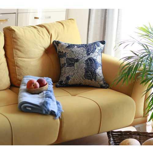 "17""x 17"" Blue Jacquard Leaf Decorative Throw Pillow Cover"