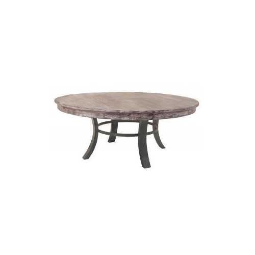 """72"""" x 72"""" x 30"""" Metal White Wash Gray and Black Contemporary Round Dining Table"""
