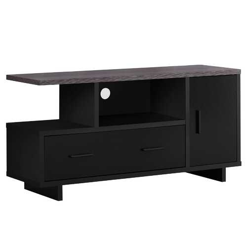 "15.5""x 47.25""x 23.75"" Tv Stand Black Or Grey Top With Storage"