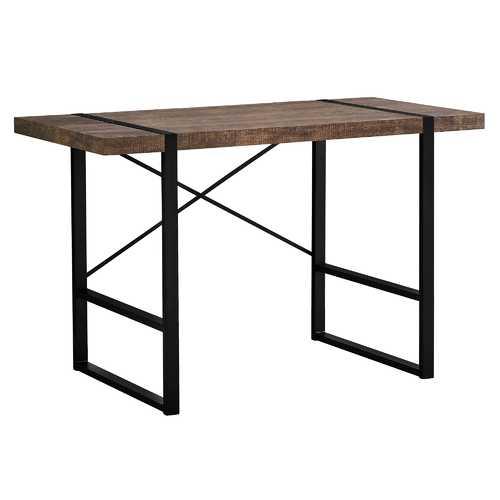"23.75""x 49""x 30"" Computer Desk Brown Reclaimed Wood Black Metal"