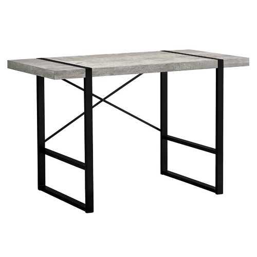 "23.75""x 49""x 30"" Computer Desk Grey Reclaimed Wood Black Metal"
