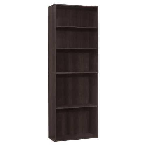 """11.75"""" x 24.75"""" x 71.25"""" Cappuccino, 5 Shelves - Bookcase"""