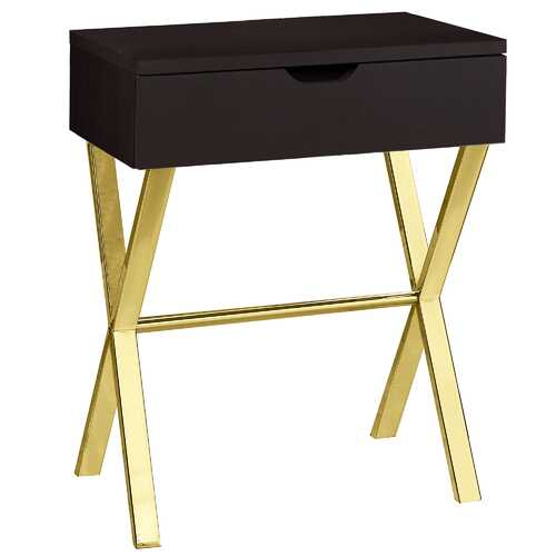 "12""x 18.25""x 22.25"" Accent Table Cappuccino Or Gold Metal"