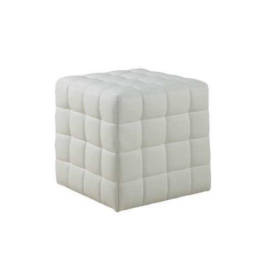"""16.75""""x 16.75""""x 17"""" Ottoman White Leather Look Fabric"""