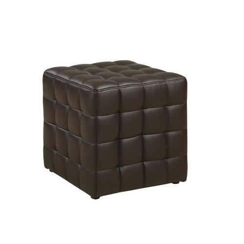 "16.75""x 16.75""x 17"" Ottoman Dark Brown Leather Look Fabric"