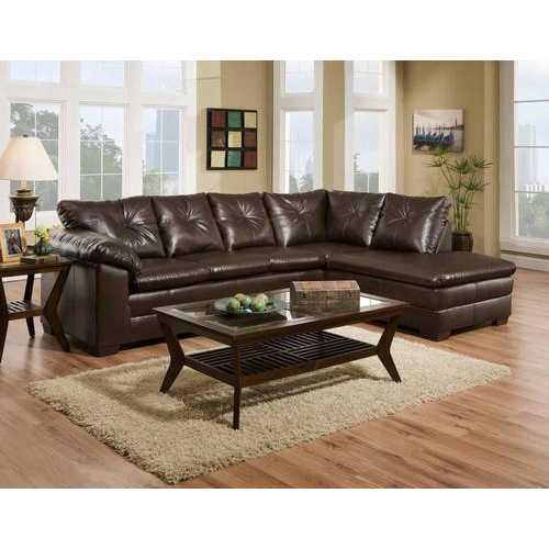 "117"" X 82"" X 39"" Cowboy Brown 83% Polyurethane/17% Bonded Leather 2 pc Sectional"