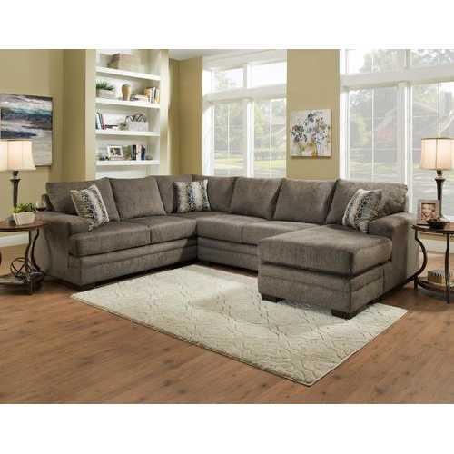 "126"" X 64"" X 38"" Cornell Pewter 100% Polyester Sectional"