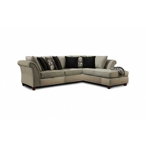 "125"" X 120"" X 34.5"" Zues Gray 100% Polyester Sectional"
