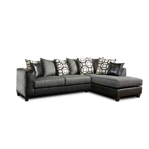 """110"""" X 73"""" X 37"""" Object Charcoal Dempsey Blacke 100% Polyester Sectional"""