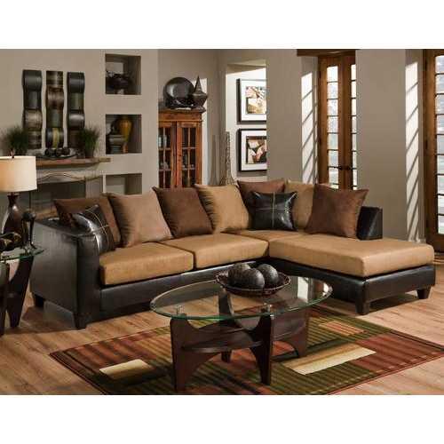 "111"" X 71"" X 37"" Jefferson Chocolate Sierra Camel 100% PU, 100% polyester Microfiber Sectional"