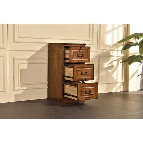 "18.5"" X 22"" X 42"" Burnished Walnut Hardwood Three Drawer File Cabinet"