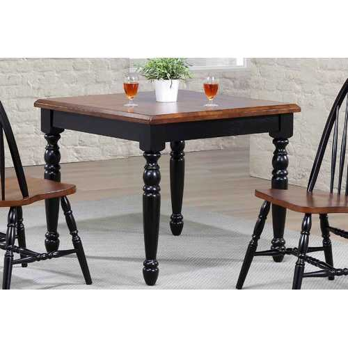 "36"" X 36"" X 30"" Black Cherry Finish Rubberwood Hardwood Square Dining Table"