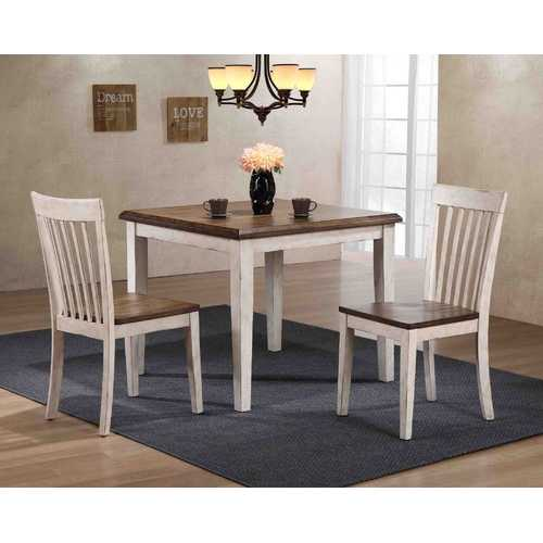 "36"" X 36"" X 36"" Walnut Antique White Finish Hardwood 3 Piece Dining Set"