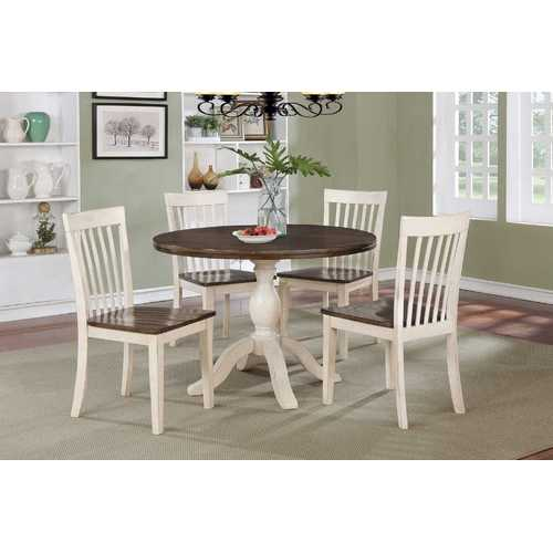 "42"" X 42"" X 36"" Walnut Antique White Finish Hardwood 5 Piece Dining Set"
