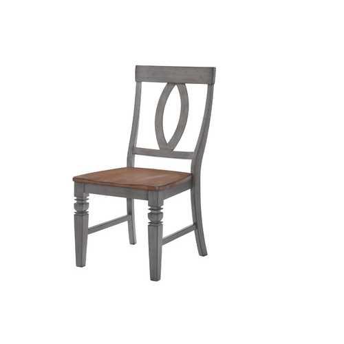 "17"" X 22"" X 40"" Storm Grey Maple Hardwood Slat Back Side Chair"