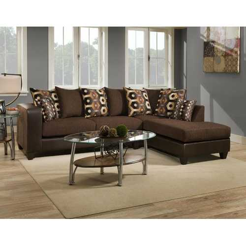 """110"""" X 73"""" X 37"""" Cougar Chocolate Cowgirl Brown 100% Polyester Sectional"""