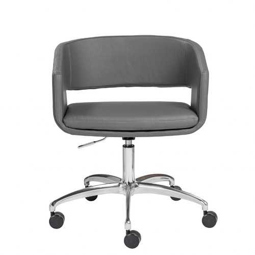 """24.41"""" X 24.81"""" X 33.08"""" Office Chair in Gray with Chromed Steel Base"""