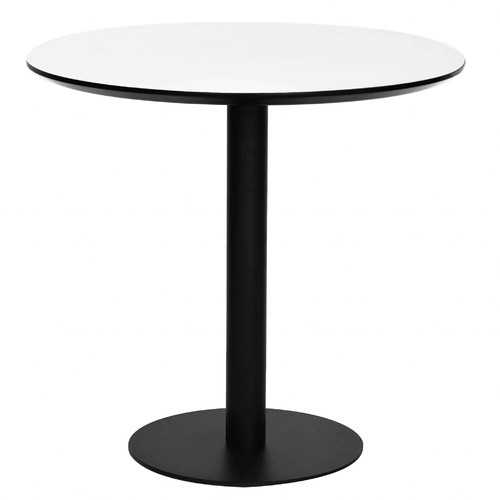 "31.5"" X 31.5"" X 29.53"" White MDF Round Dining Table with Powder Coated Steel Base"