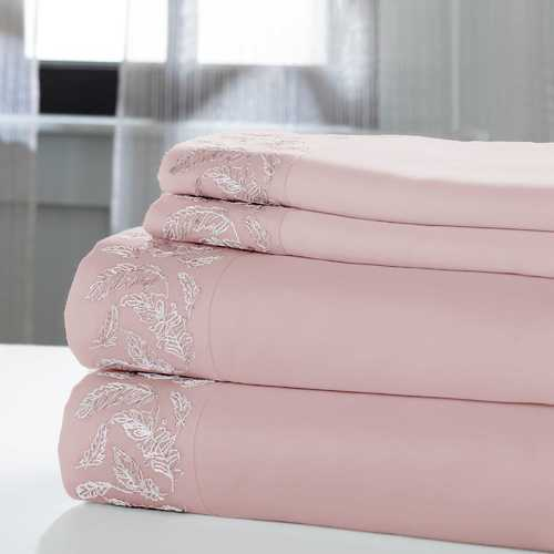 "0.2"" x 102"" x 106"" Cotton and Polyester Pink and White  4 Piece California King Sheet Set"