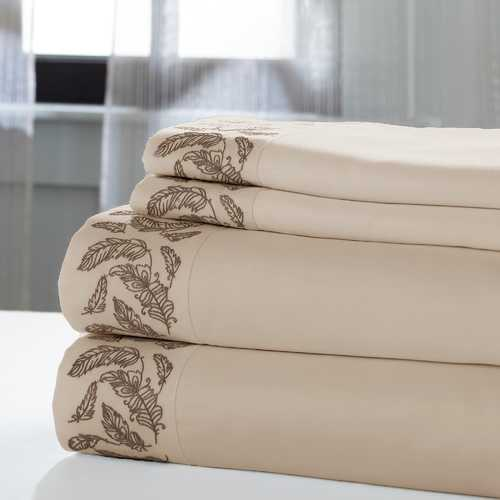"0.2"" x 102"" x 106"" Cotton and Polyester Beige and Brown  4 Piece California King Sheet Set"