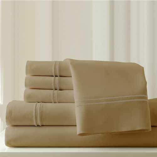 "0.2"" x 102"" x 106"" Cotton and Polyester Beige  6 Piece California King Sheet Set"