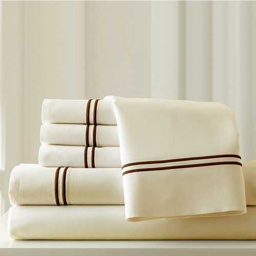 "0.2"" x 102"" x 106"" Cotton and Polyester Cream and Brown  6 Piece King Sheet Set"