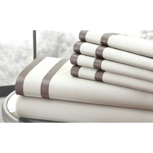 "0.2"" x 102"" x 106"" Cotton and Polyester Cream and Brown  6 Piece California King Sheet Set"