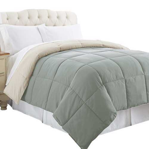 """0.2"""" x 88"""" x 104"""" Microfiber Gray and Beige King Size Box Quilted Reversible Comforter"""