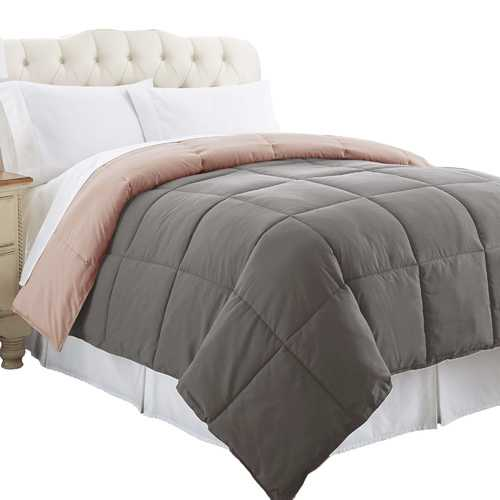 """0.2"""" x 88"""" x 104"""" Microfiber Gray and Pink King Size Box Quilted Reversible Comforter"""