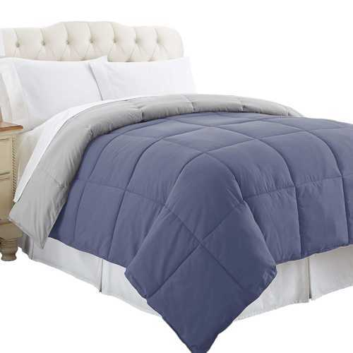 """0.2"""" x 88"""" x 104"""" Microfiber Silver and Blue Reversible King Comforter with Box Quilted"""