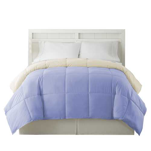 """0.2"""" x 88"""" x 104"""" Microfiber Blue and Cream King Size Box Quilted Reversible Comforter"""