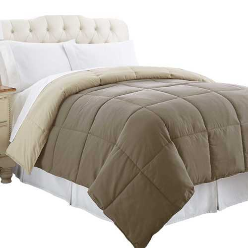 """0.2"""" x 68"""" x 88"""" Microfiber Brown Twin Size Box Quilted Reversible Comforter"""