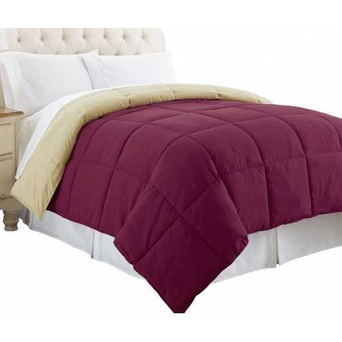 """0.2"""" x 88"""" x 104"""" Microfiber Pink and Beige King Size Box Quilted Reversible Comforter"""