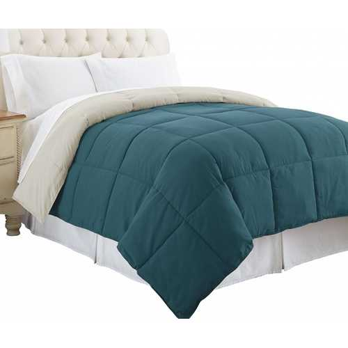 """0.2"""" x 88"""" x 104"""" Microfiber Blue and Gray King Size Box Quilted Reversible Comforter"""