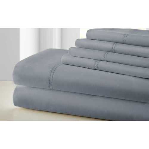 "0.2"" x 102"" x 106"" Cotton and Polyester Gray 6 Piece California King  Sheet Set"